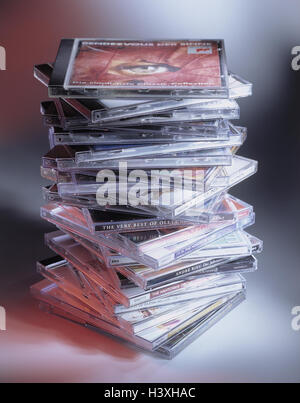 CD's, stacked, CD, compact disc, music, music CD's, product photography, data carrier, Still life, CD cover, batch, - Stock Photo