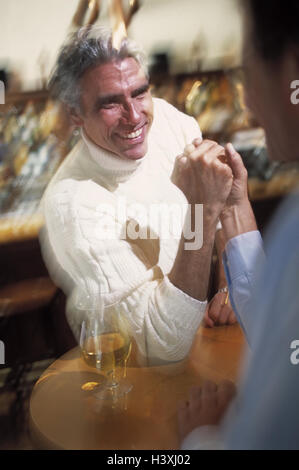Locally, men, showdown, Indian wrestling, blur bar, two, middle old person, friends, mates, friendship, starch, - Stock Photo
