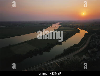 Germany, Lower Bavaria, near, Straubing, river, the Danube, sundown, Europe, Central, Europe, the federal republic, - Stock Photo