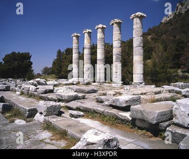 Turkey, Priene, Athena's temple, ruin site, ruin, 'Stadtschützerin', Athena Polias, in 350-330 B.C., pillars, Ionically, - Stock Photo