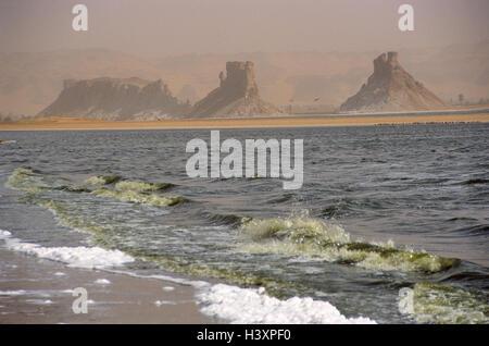 Chad, mesa country Ennedi, salt lake Ounianga Serir, Central, Africa, landlocked country, Sahara, Sahara waters, - Stock Photo