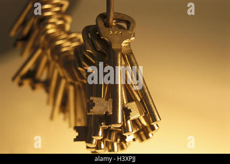 Key bundle, key, close, open, castle up, lock, block, beard key, icon Hausmeisterei, variety, security, product - Stock Photo