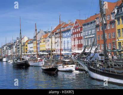 Denmark, Copenhagen, town view, Nyhavn, bite channel, ships, Europe, Scandinavia, capital, Old Town, waterway, channel, - Stock Photo