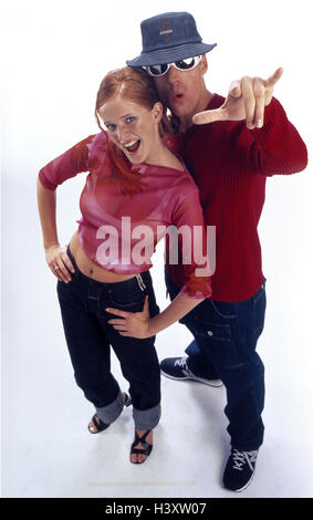 Couple, young, happy, gesture, 'rappers', from above, fashion, man, woman, rap, rap, dance, modern, clothes, Qoutfit, - Stock Photo