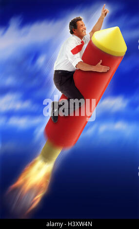 Businessman, rocket, icon, 'high flyer' Men, Composing, man, launch, success, promotion, career, climb up, victory, - Stock Photo