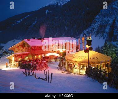 Austria, mountain Arl, St. Anton, ski hut, Protectable, dusk, winter Europe, winter sports place, tourist resort, - Stock Photo