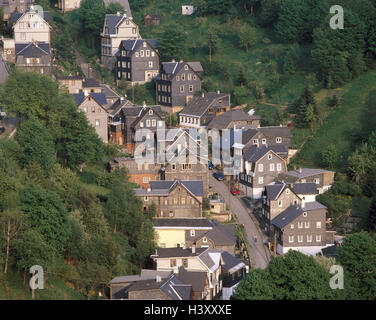Germany, Thuringia, Lauscha, town overview, from above, Europe, town, provincial town, overview, overview, houses, - Stock Photo