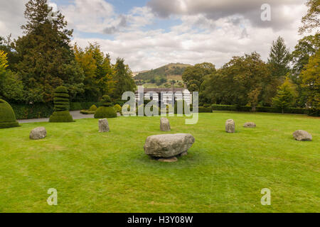 Plas Newydd Llangollen and the Gorsedd stone circle erected in 1908 for an eisteddfod - Stock Photo