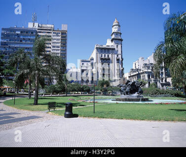Uruguay, Montevideo, town view, plaza Fabini, well, South America, capital, town, space, park, fountain - Stock Photo