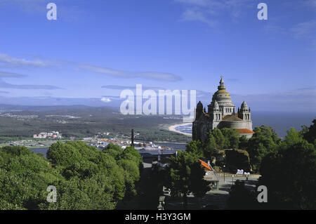 Portugal, province Minho, Monte de, Santa Luzia, pilgrimage church, Rio Lima, background, Viana Th Castelo coast, - Stock Photo