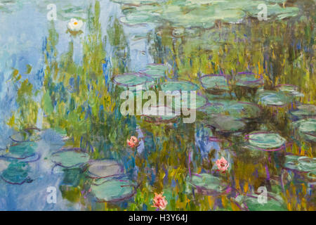 Germany, Bavaria, Munich, The New Pinakothek Museum (Neue Pinakothek), Painting titled 'Water-Lilies' by Claude - Stock Photo