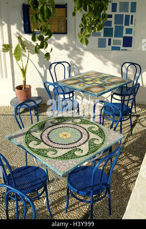 Greece, island Rhodes, Lindos, restaurant, tables, Mosaike, chairs, Europe, Southeast, Europe, Elliniki Dimokratia, - Stock Photo