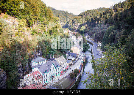 view over Hrensko, Usti nad Labem, Czech Republic - Stock Photo