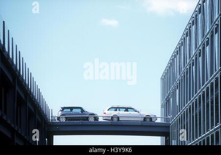 Germany, North Rhine-Westphalia, airport 'Cologne-Bonn', car park, bridge, Pkw's, Europe, airport terminal, airport - Stock Photo