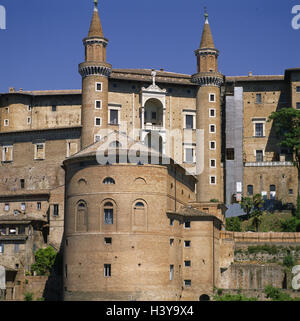 Italy, marks, Urbino, Palazzo Ducale, Piazza Duca Federico, palace, structure, architecture, place of interest, - Stock Photo