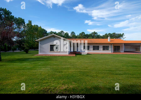 Residential house with big lawn in front - Stock Photo
