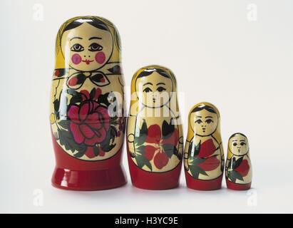 Matroschkas, sizes, passed away Matroschka, Matrjoschka, figures, wooden, paints, wooden dolls, souvenir, handicraft, - Stock Photo