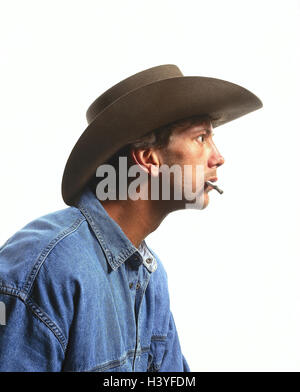 Man, stetson, cigarette, facial play, amazement, portrait, inside, young, jeans shirt, astonished, is surprised, fascination, entrancedly, stare, near, studio, cut out, preview