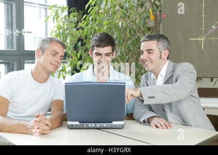 Office, team, businessman, employee, young, notebook computer, budget plan, production, consultation, point, declare - Stock Photo