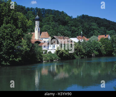 Germany, Upper Bavaria, Wolfratshausen, town view, church, Loisach, Europe, Bavaria, town, river, view from the - Stock Photo