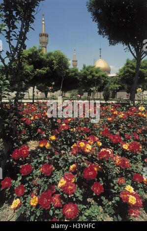 Iran, Theheran, mausoleum, garden, tomb the ayatollah Khomeyni, gold, golden dome, mosque, flowers, place of interest, - Stock Photo