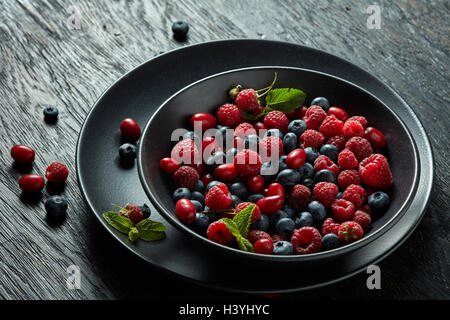 fresh berries on black background - Stock Photo