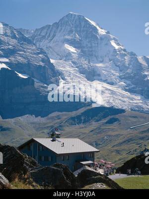 Switzerland, the Bernese Oberland, Grindelwald, mountain restaurant 'Grindelwald view', Eigergletscher, monk, 4099 - Stock Photo