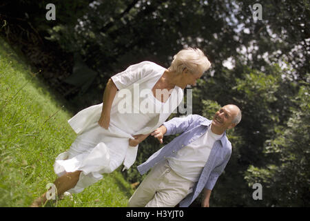 Meadow, Senior couple, play to trap couple, senior citizens, Best Agers, falls in love, gambles away love, partnership, - Stock Photo