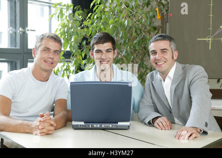 Office, team, businessman, employee, young, notebook computer, budget plan, production, success business, men, three, - Stock Photo