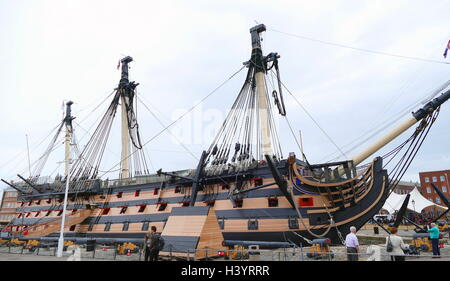 HMS Victory is a 104-gun first-rate ship of the line of the Royal Navy, ordered in 1758, laid down in 1759 and launched - Stock Photo