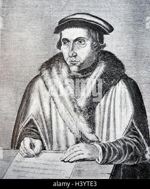 Engraving of Juan Luis Vives (1493-1540) a Valencian scholar and humanist. Dated 16th Century - Stock Photo
