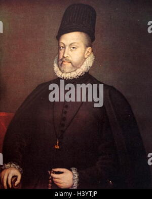 Portrait of Philip II of Spain (1527-1598) King of Spain, Portugal, Naples and Sicily. Dated 16th Century - Stock Photo