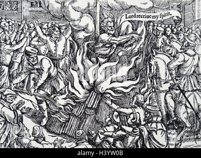 Engraving depicting the burning of John Rogers (1500-1555) a clergyman, Bible translator and commentator. Dated - Stock Photo