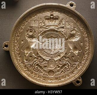Great Seal of King George IV of the United Kingdom (1762-1830) embossed onto silver. Dated 19th Century - Stock Photo