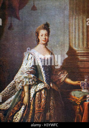 Portrait of Charlotte of Mecklenburg-Strelitz in State Robes by Allan Ramsay - Stock Photo