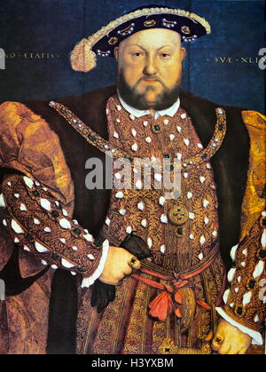 Portrait of Henry VIII of England (1491-1547) King of England and Ireland. Dated 16th Century - Stock Photo