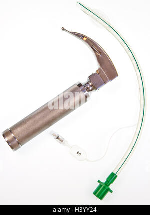 Cuffed endotracheal tube which is passed through the larynx into the windpipe during an anaesthetic to maintain - Stock Photo