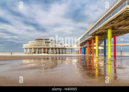 Beach and Pier of Scheveningen, Den Haag, The Hague, on the Dutch North Sea coast, South Holland, The Netherlands, - Stock Photo