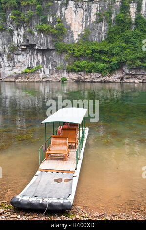 Bamboo raft in Li River, yangshuo near Guilin, China - Stock Photo
