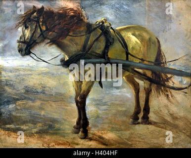 Karrengaul - Horse cart 1844 Adolph Menzel 1815-1905 German Germany - Stock Photo