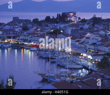 Greece, island Samos, Pythagorion, town view, harbour, lighting, sea, evening, Europe, Southeast, Europe, Ellas, - Stock Photo