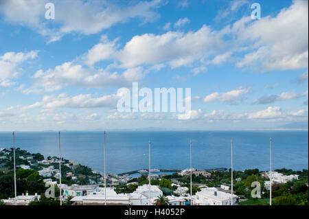 The nice cloudscape over the Capri island, Italy.