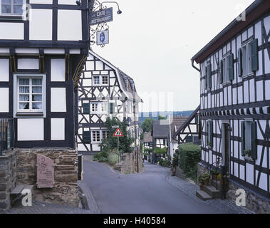 Germany, North Rhine-Westphalia, town shining mountain, lane, half-timbered houses, Europe, town, town view, houses, - Stock Photo