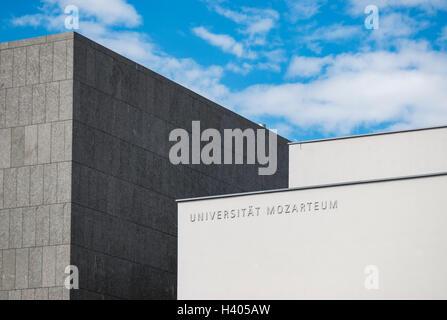 Building of Mozart University of Music and Dramatic Arts (Universität Mozarteum) in Mirabell Gardens, Salzburg, - Stock Photo