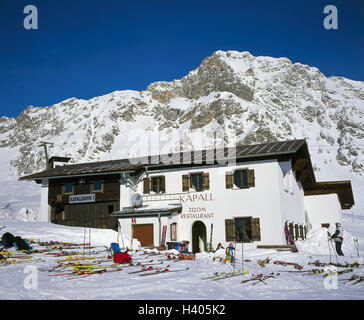 Austria, mountain Arl, St. Anton, Kapallbahn, middle station, winter, Europe, Westösterreich, winter scenery, mountain - Stock Photo