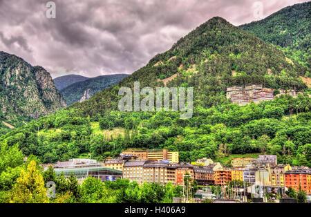 Mountains near Andorra la Vella, the capital of Andorra - Stock Photo