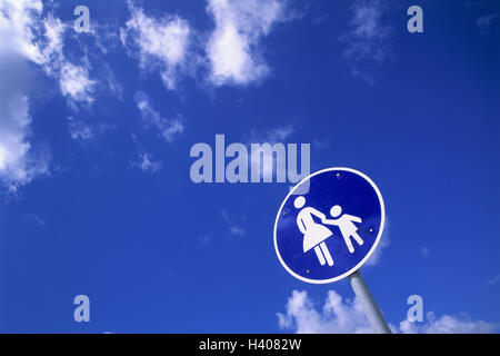 Road sign, walkway, sign, sign, Commandment child, traffic sign, special way, footpath, pedestrian, cloudy sky - Stock Photo