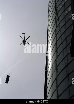Silhouette, high rise, facade, costs helicopter, from below, skyscraper, office building, helicopter, helicopter, - Stock Photo