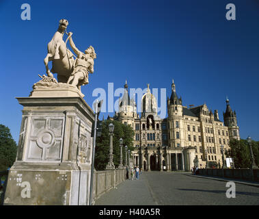 Germany, Mecklenburg-West Pomerania, Schwerin, lock, bridge, sculpture, Europe, state capital, Schweriner lake, - Stock Photo