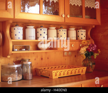 Kitchen unit, rural, detail, wall, wall covering, wooden, wooden walls, setup, rustic, rurally, wooden, country - Stock Photo